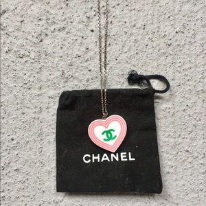 Chanel vintage heart logo necklace